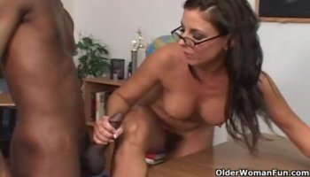 Hot redhead prostitute gets pleasured by two old guys